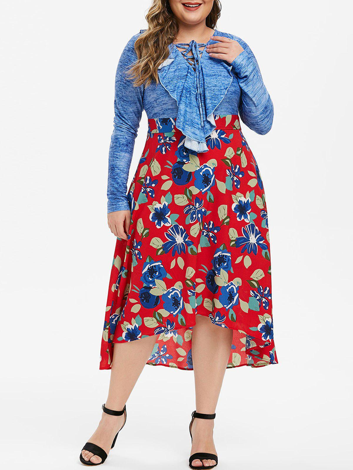 Plus Size Lace Up Ruffled High Low Floral Midi Dress - BLUEBERRY BLUE 1X