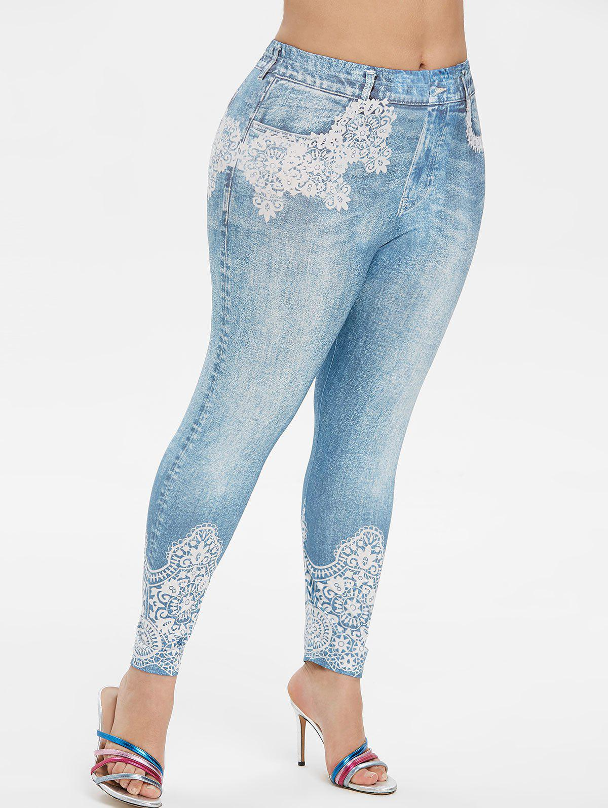 Plus Size Skinny 3D Lace Jean Print Jeggings - BLUE GRAY 3X