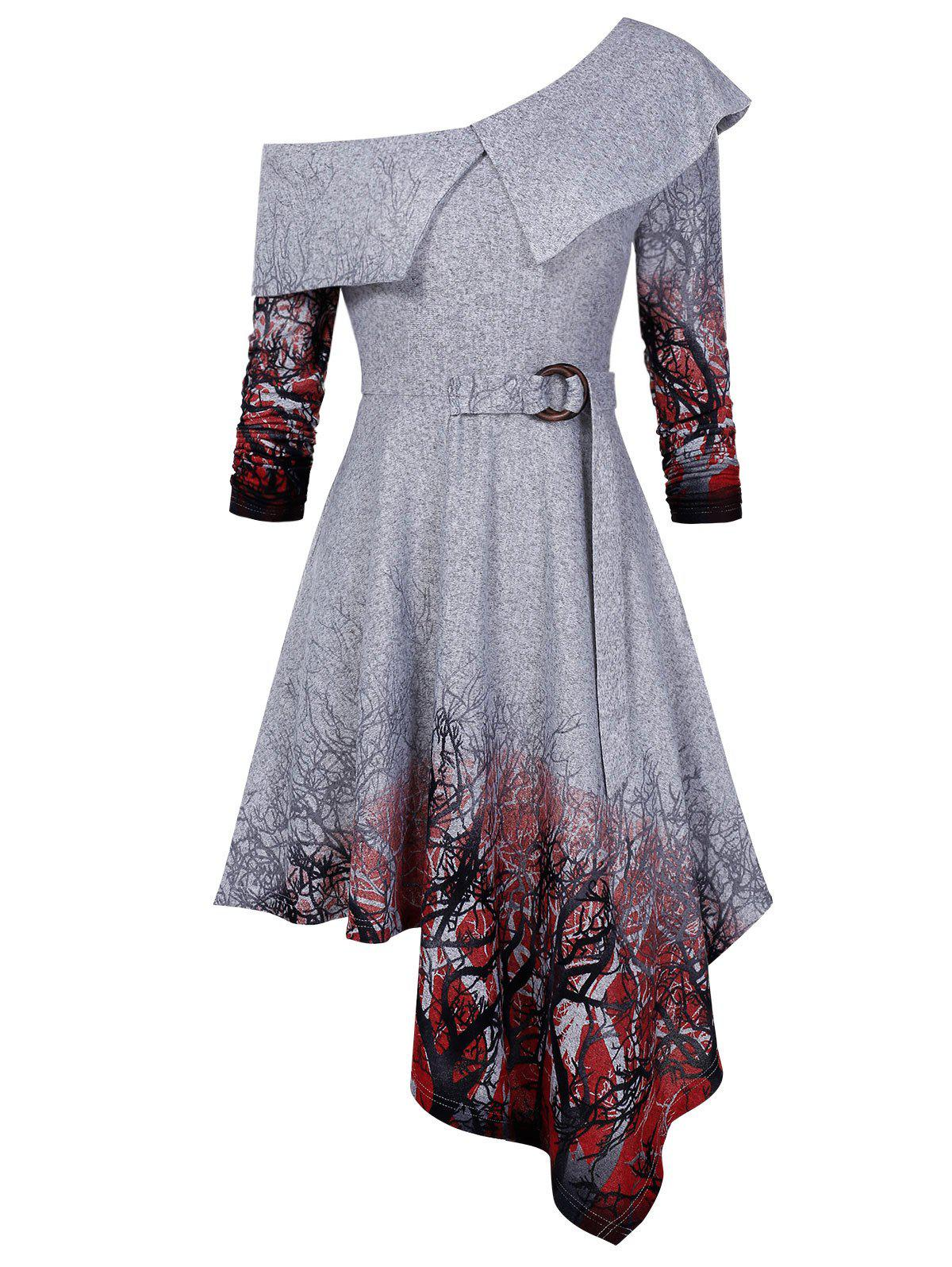 Long Sleeve Tree Printed High Waist Dress - GRAY GOOSE L
