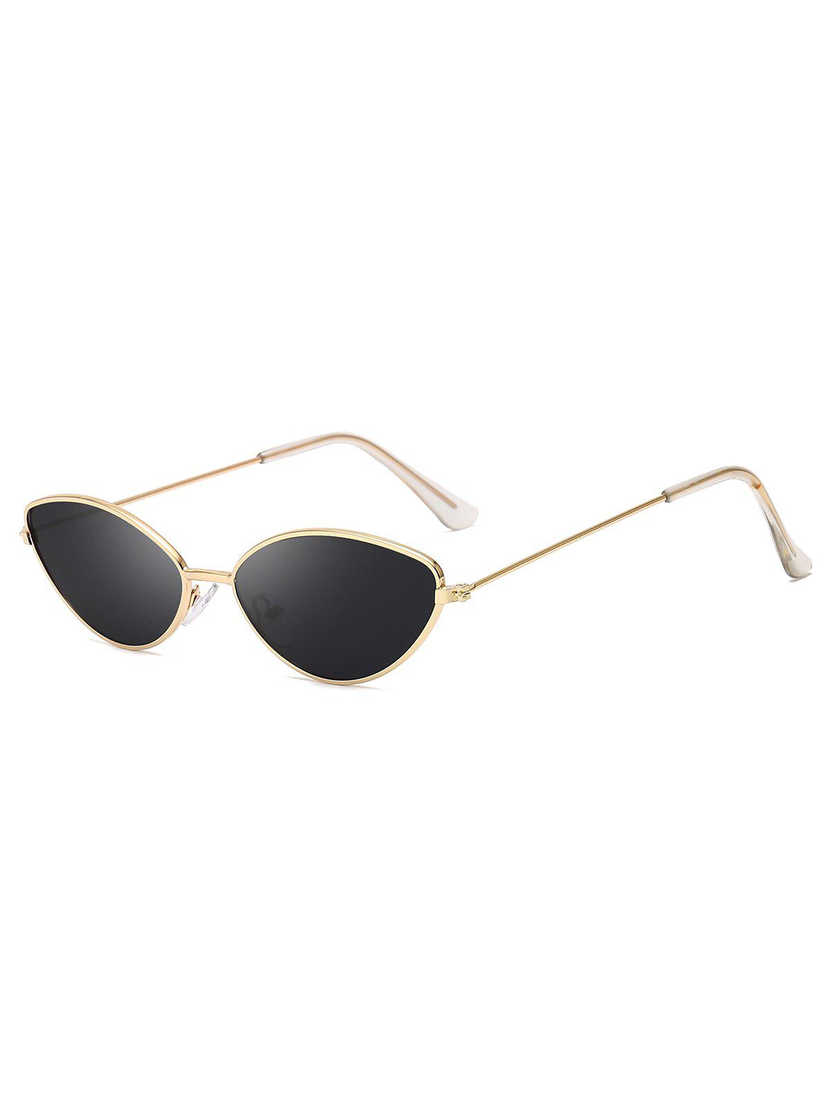 Metal Small Catty Eye Anti UV Sunglasses - BLACK