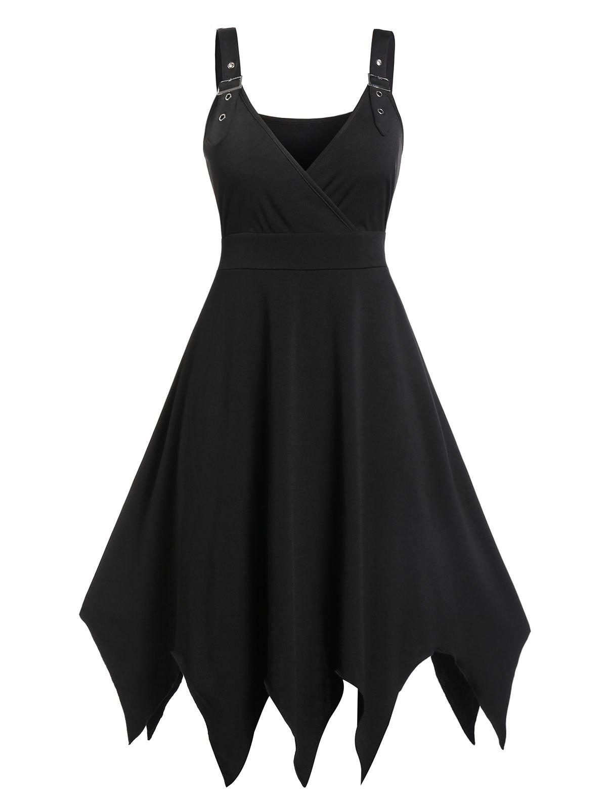 Plus Size Asymmetric Plunge Sleeveless Vintage Dress - BLACK L