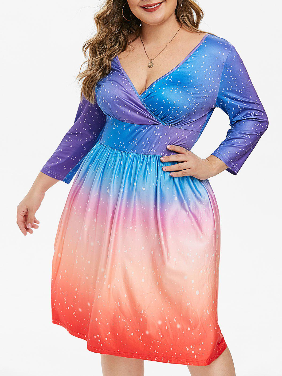 Plus Size Plunging Neckline Dotted Ombre Color Dress - SILK BLUE 4X