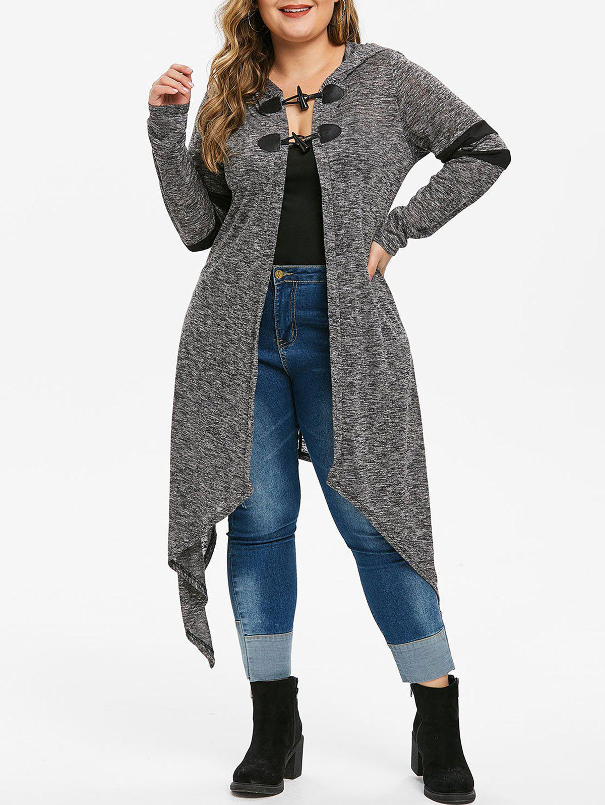 Hooded Heathered Asymmetrical Plus Size Cardigan - BATTLESHIP GRAY L