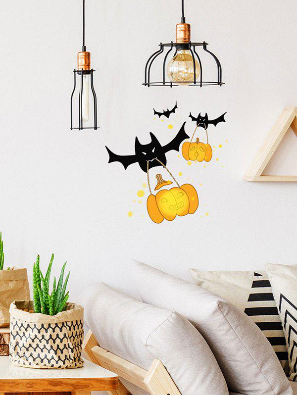 Halloween Bat Pumpkin Print Decorative Wall Art Stickers - multicolor 30*30CM
