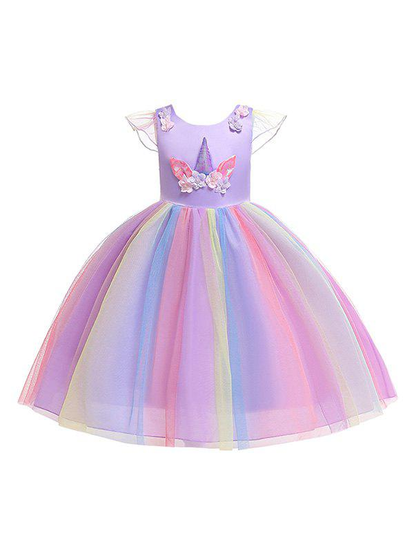 Unicorn Flower Design Cap Sleeve A Line Tulle Dress - PURPLE 110