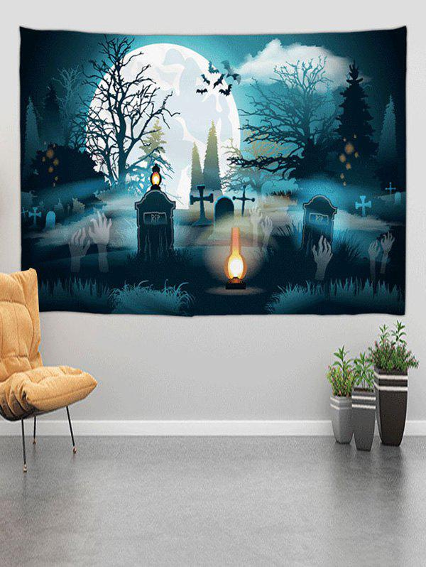 Halloween Grave Forest Digital Print Wall Tapestry - multicolor A W59 X L59 INCH