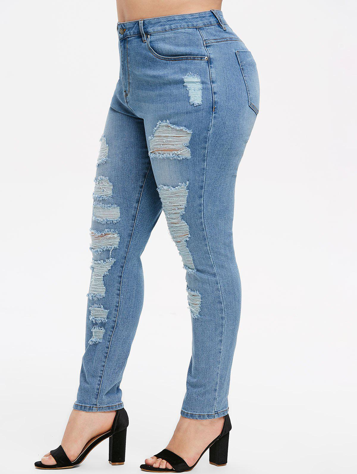 Distressed Plus Size Skinny High Waisted Jeans - JEANS BLUE 5X