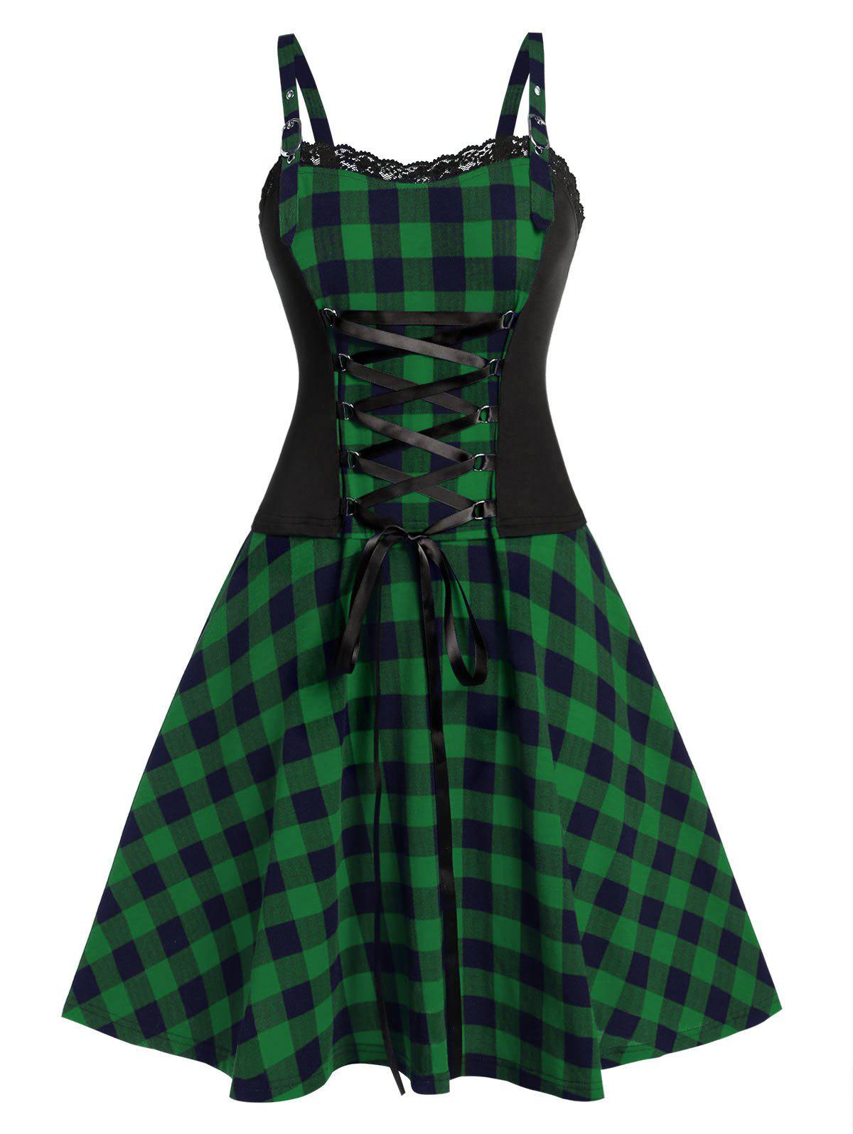 Plus Size Vintage Fit And Flare Plaid Dress - MEDIUM SEA GREEN L
