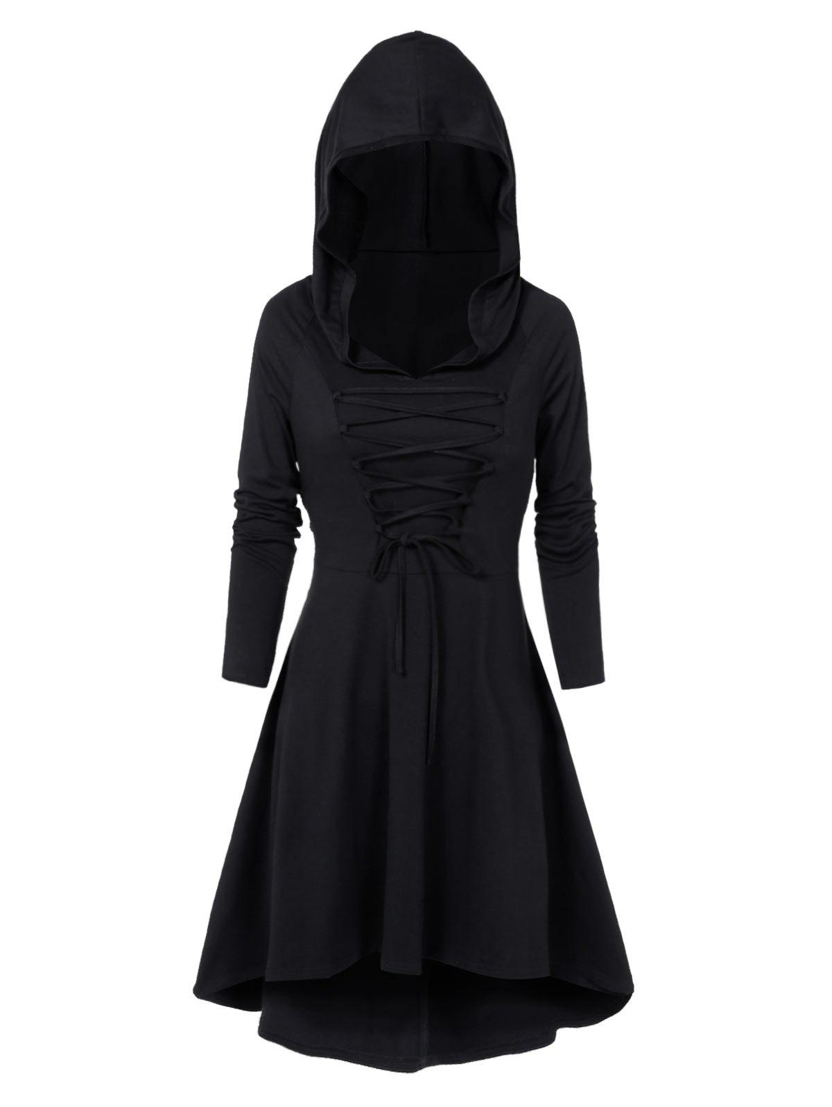 Hooded Lace-up Heathered High Low Gothic Dress - BLACK M