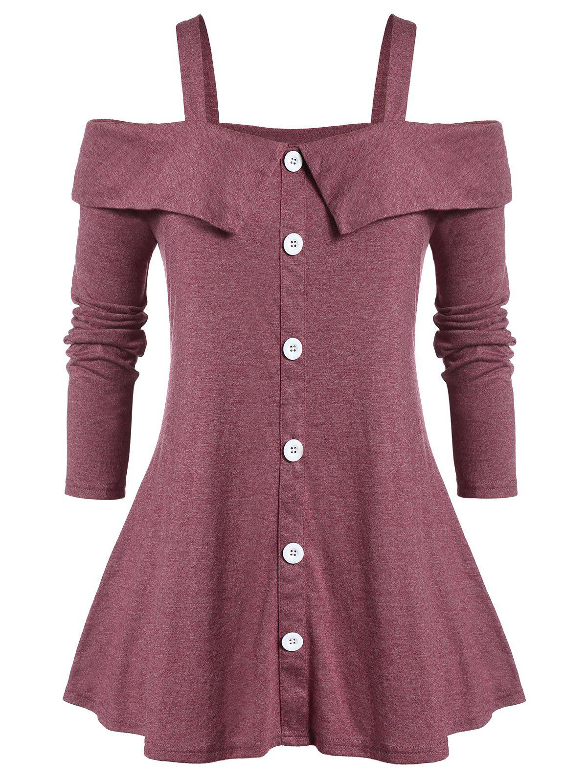 Plus Size Square Neck Marled Open Shoulder T Shirt - CHERRY RED 5X