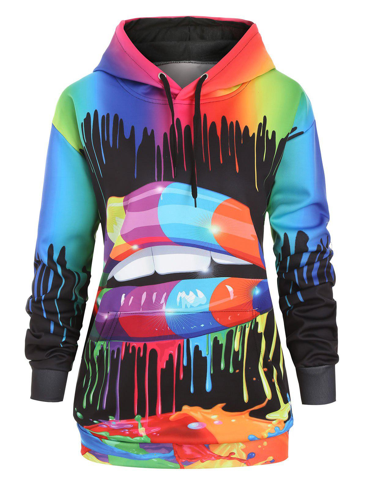 Rainbow Paint Splatter Drawstring Front Pocket Plus Size Hoodie - multicolor A 3X