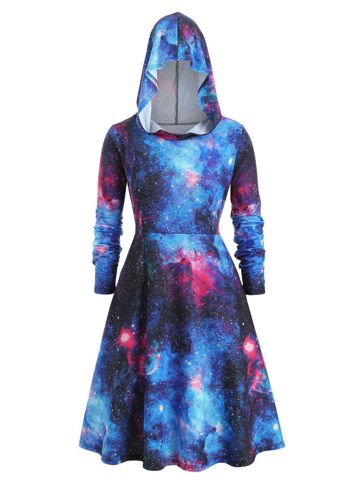 Galaxy Hooded Long Sleeve Plus Size Dress