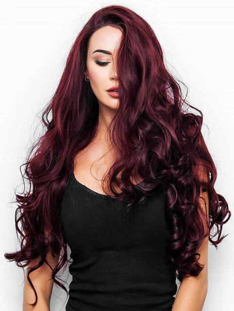 Long Body Wave Synthetic Side Part Wig - RED WINE 24INCH