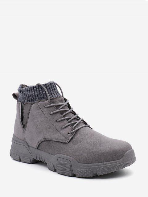 Bottines à lacets de couleur unie - Gris EU 40