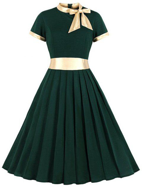 Knotted Contrast Trim Vintage Pleated Dress - DEEP GREEN S