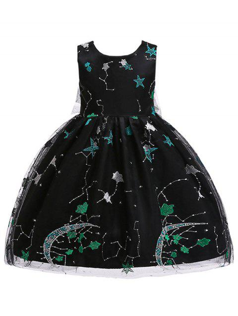 Star Embroidery Sleeveless A Line Tulle Dress - BLACK 140