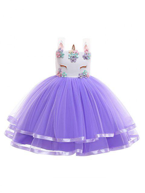 Unicorn Flower Pattern Sleeveless A Line Tulle Dress - PURPLE 140