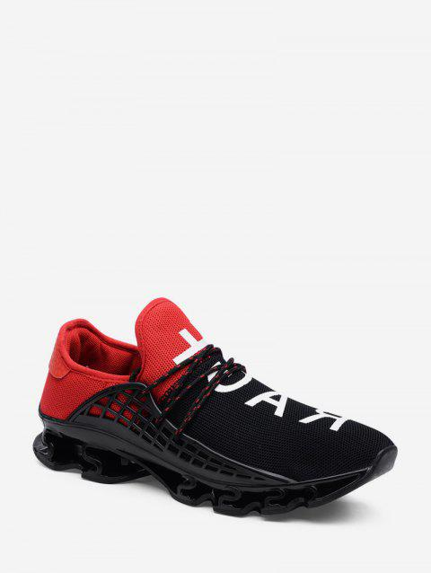 Woven Mesh Letter Graphic Sport Shoes - RED EU 44