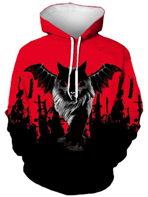 Halloween Bat Graphic Front Pocket Drawstring Hoodie - RED 2XL