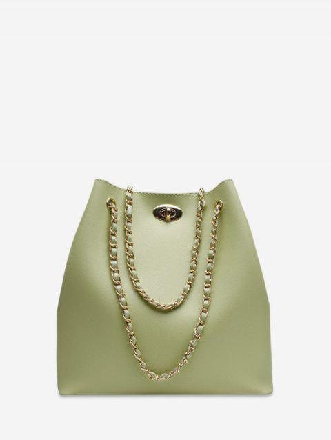 Brief Chain Bucket Shoulder Bag - GREEN SNAKE