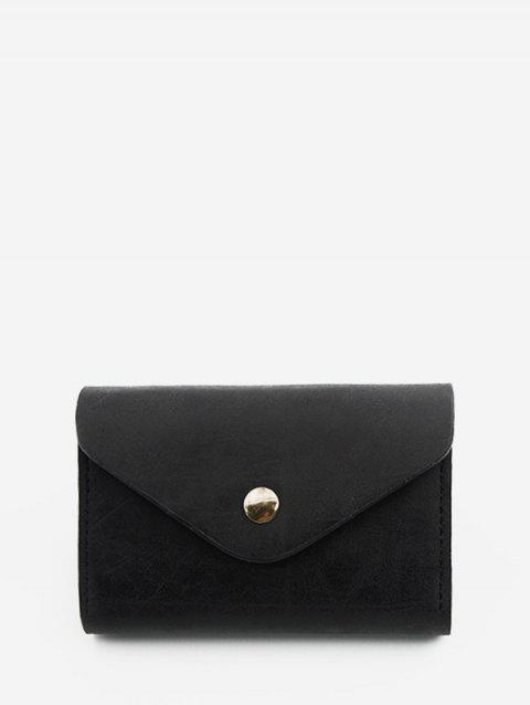Snap Button PU Leather Card Bag - BLACK