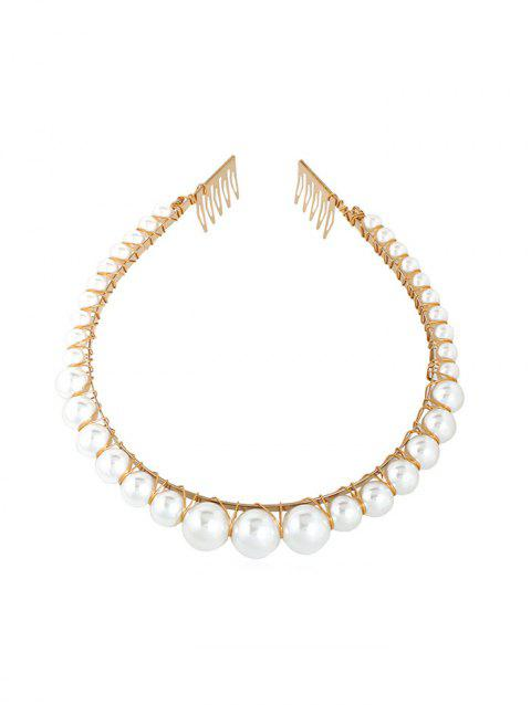 Round Beads Faux Pearl Hairband - WHITE