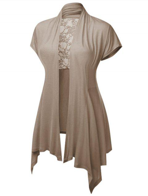 Plus Size Sheer Lace Insert Open Front Cardigan - LIGHT KHAKI 1X