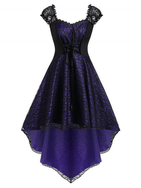 Plus Size Halloween Lace Up High Low Lace Dress - PURPLE IRIS 4X