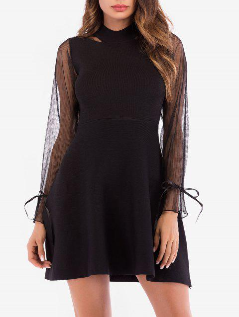Mock Neck Poet Sleeve Knitted Dress - BLACK XL