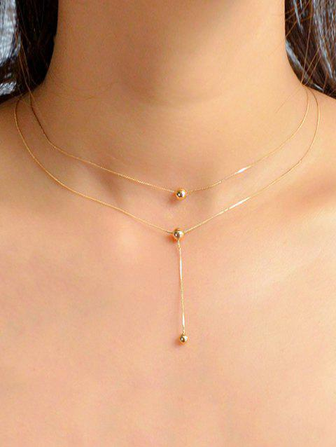 Ball Pendent Alloy Chain Necklace - GOLD