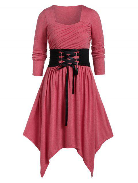 Plus Size Long Sleeve Lace Up Asymmetric Dress - CHERRY RED 4X