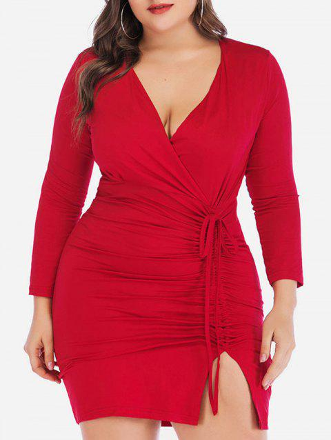 Cinched Slit Long Sleeve Surplice Plus Size Bodycon Dress - RED 5X