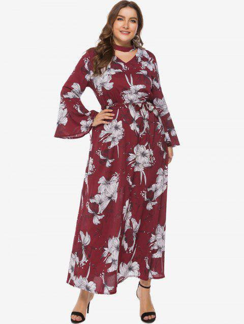 Floral Choker Belted Flare Sleeve Plus Size Maxi Dress