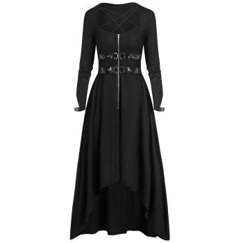 Plus Size Halloween Buckle Zippered High Low Long Dress