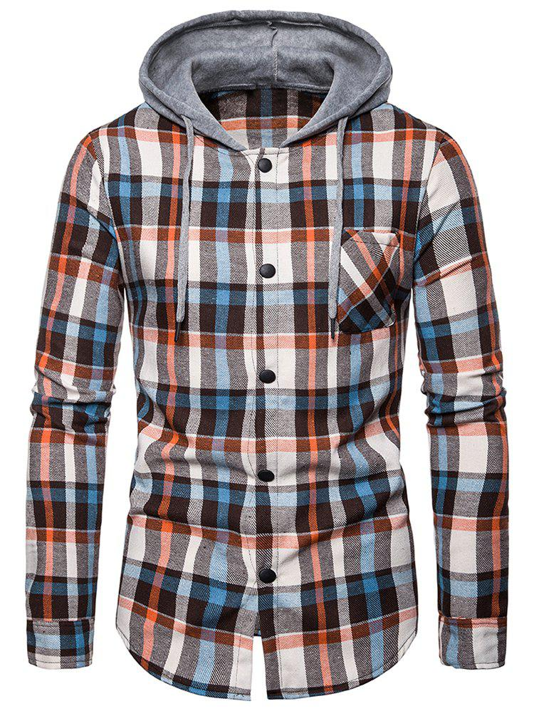 Checked Print Pockets Button Up Hooded Shirt - BLANCHED ALMOND 2XL