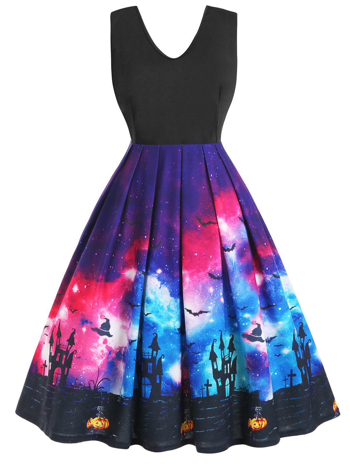 Plus Size Vintage 3D Galaxy Bat Pumpkin Halloween Swing Dress