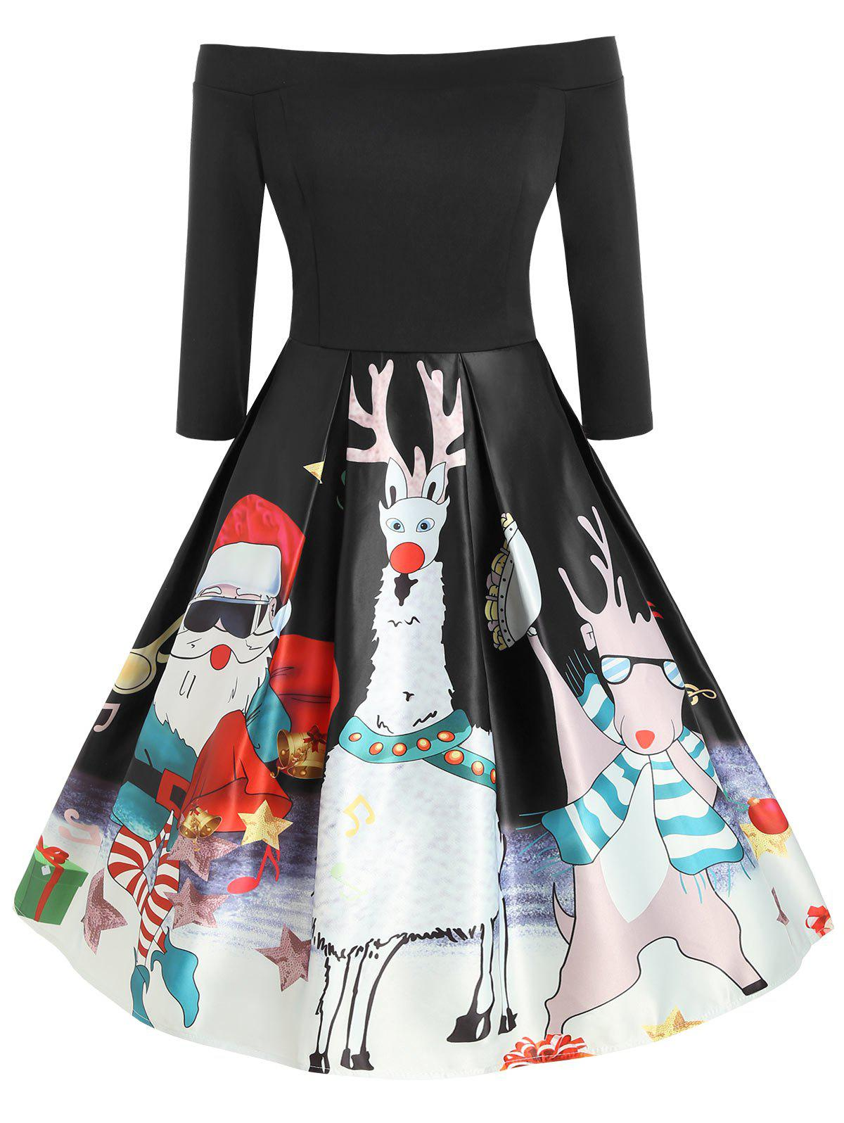 Plus Size Off  Shoulder Santa Claus Print Christmas Vintage Dress - BLACK 1X