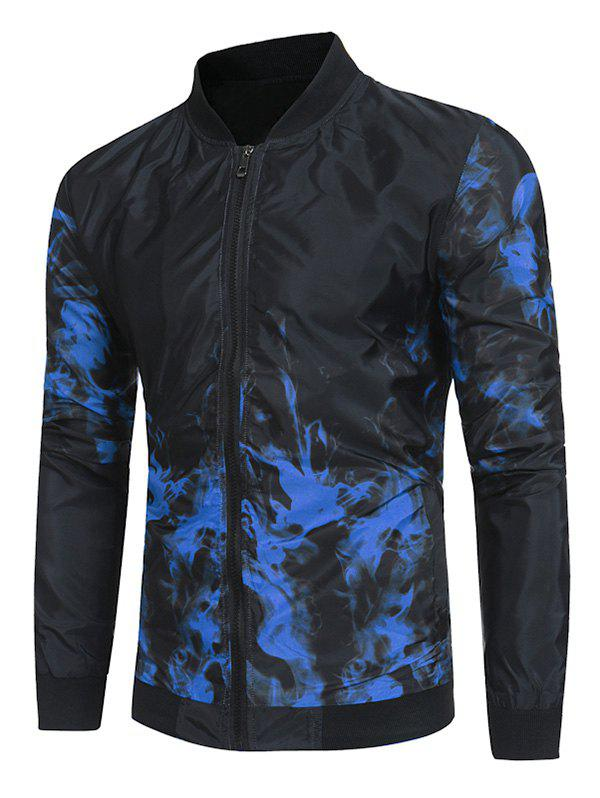 Flame Print Casual Long Sleeves Jacket - BLUE L