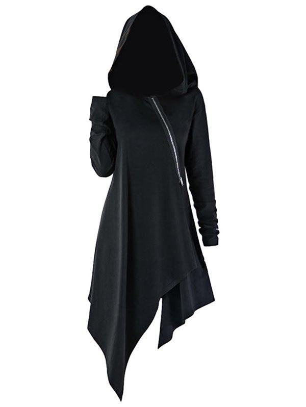 Inclined Zipper Asymmetrical Longline Hoodie - BLACK L