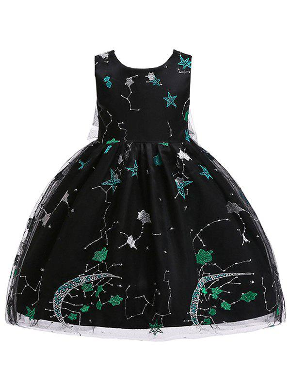 Star Embroidery Sleeveless A Line Tulle Dress - BLACK 150