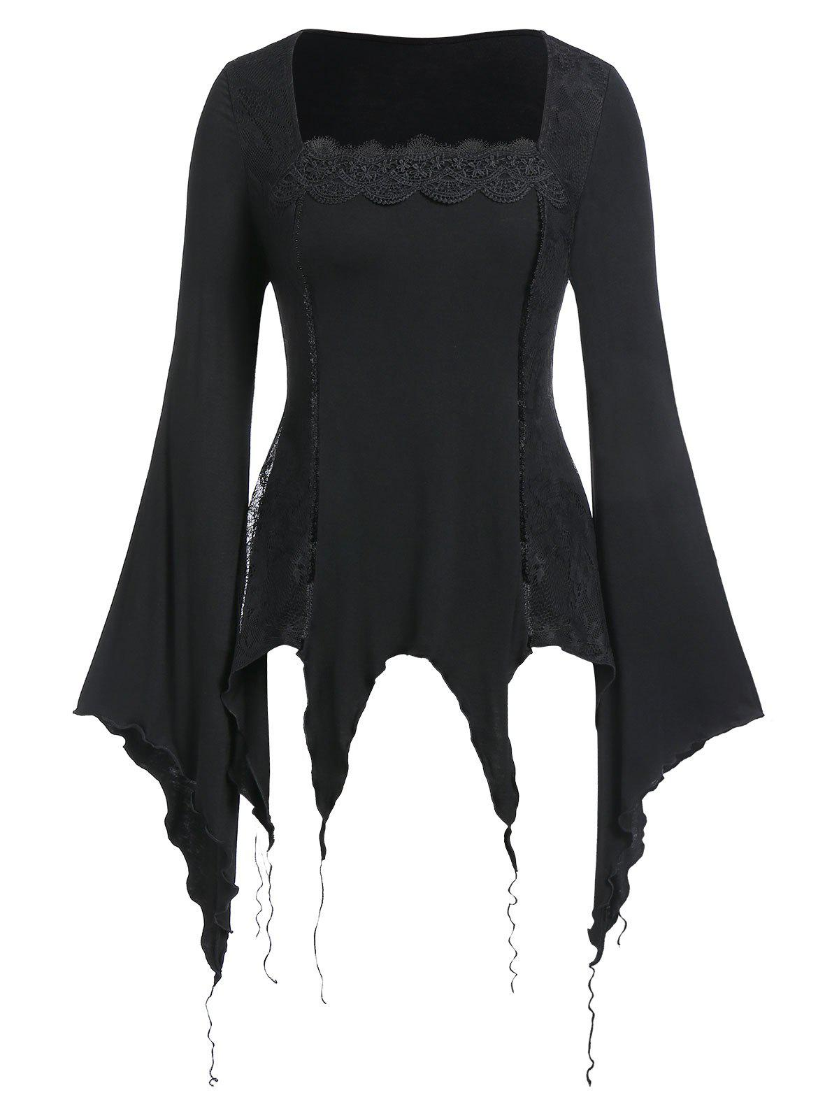 Plus Size Halloween Lace Insert Handkerchief Gothic Punk T Shirt - BLACK 2X