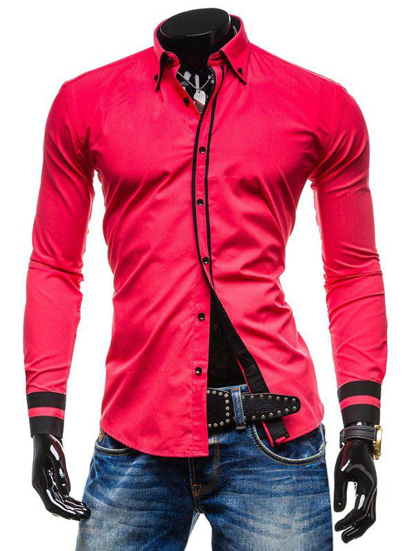 Color Spliced Button Up Long Sleeves Shirt - RED XS