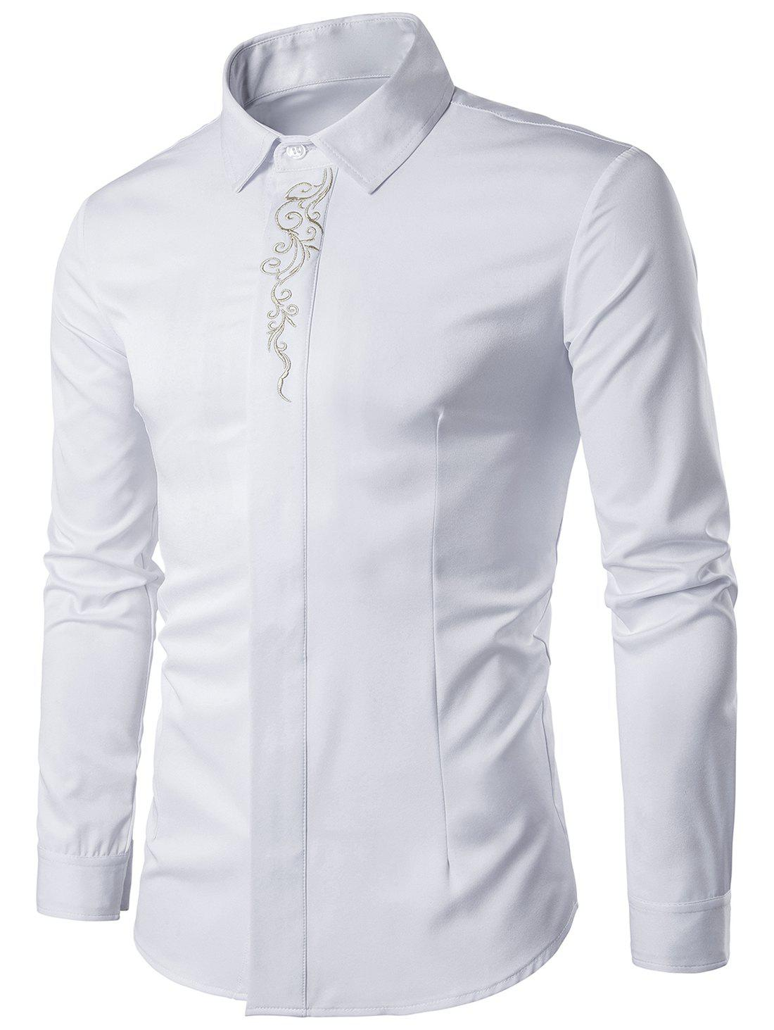 Baroque Embroidery Accent Button Up Long Sleeve Shirt - WHITE 2XL