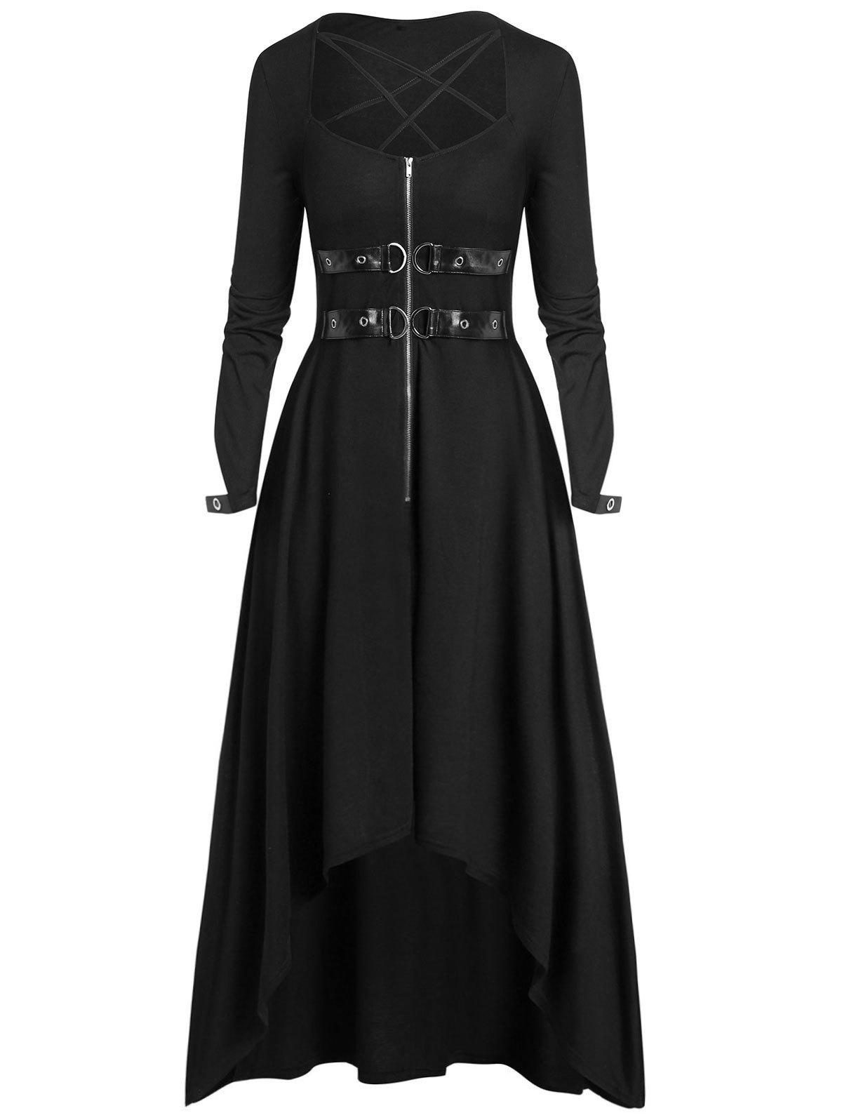 Plus Size Halloween Buckle Zippered High Low Long Dress - BLACK 3X