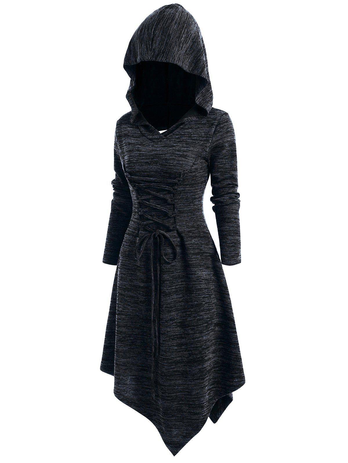 Lace Up Heathered Asymmetric Hooded Dress - BLACK M