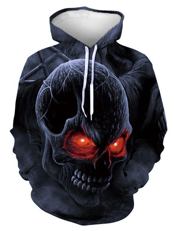 Halloween Scary Skull Graphic Front Pocket Hoodie - multicolor 2XL