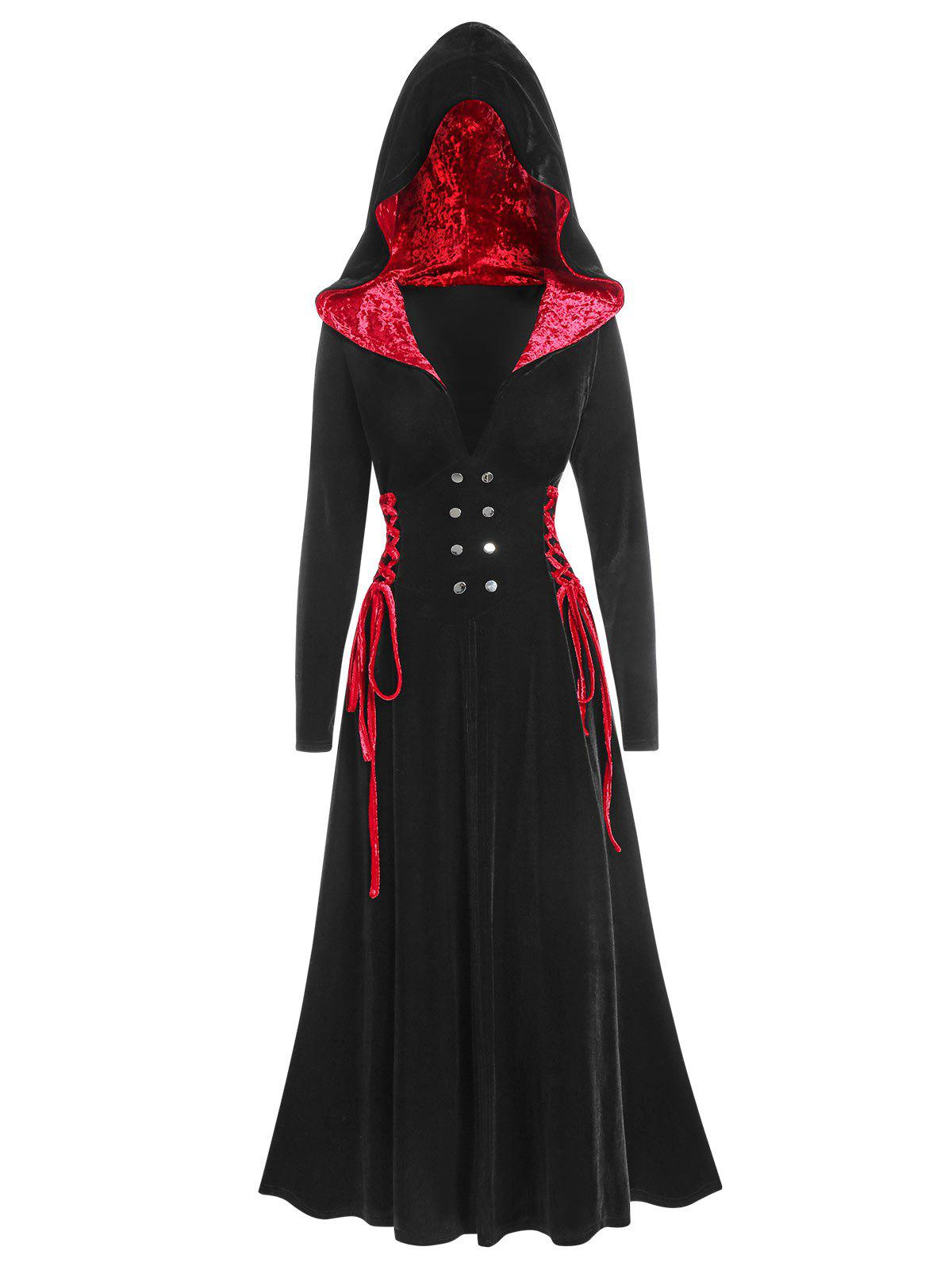 Hooded Halloween Lace Up Velvet Gothic A Line Coat - BLACK 3XL