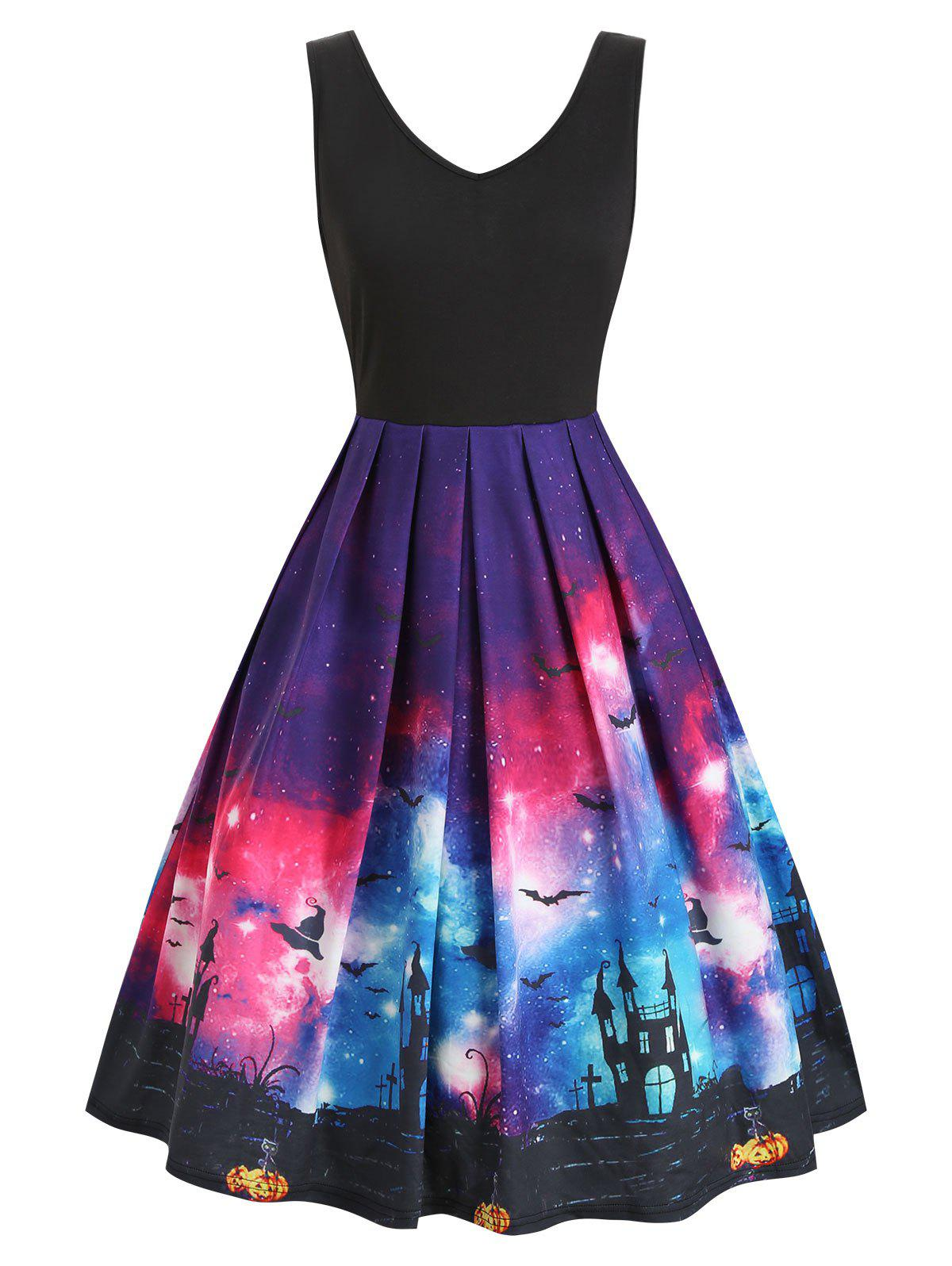 Galaxy Bat Graphic Sleeveless Halloween Dress - BLACK XL