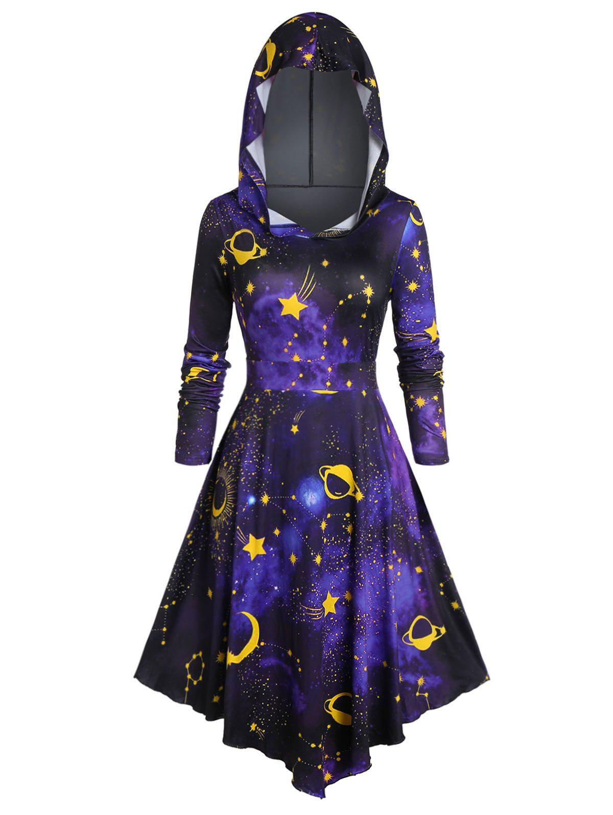 Plus Size Hooded 3D Galaxy Print Halloween Midi Dress - BLACK L