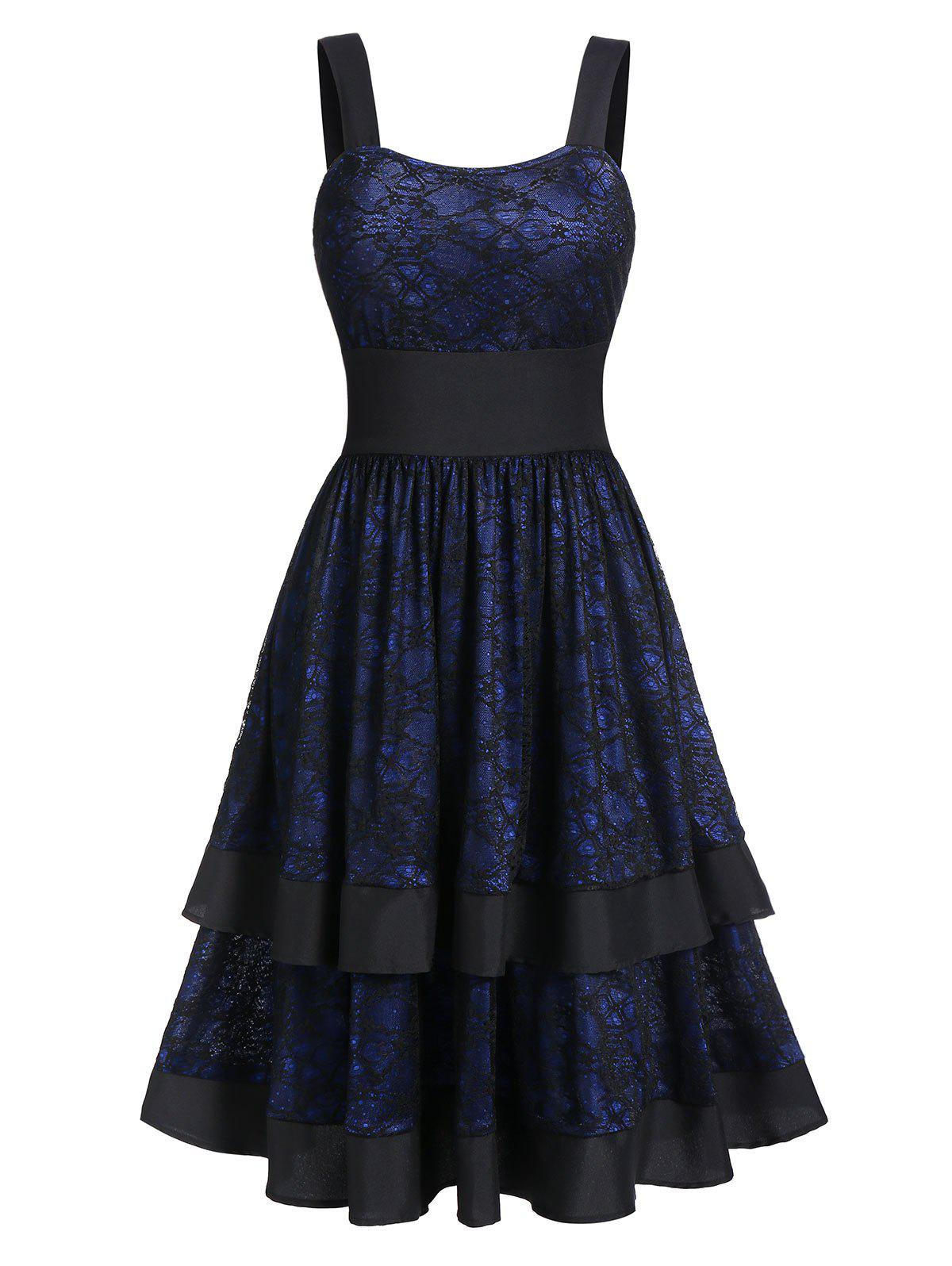 Lace A Line Flounce Layered Square Neck Dress - DEEP BLUE 3XL